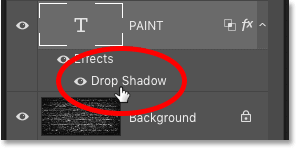 Reopening the Drop Shadow layer effect for the word 'PAINT'in the Layers panel in Photoshop