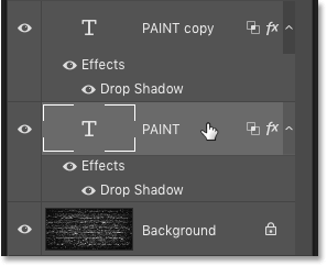 Selecting the original Type layer in the Layers panel