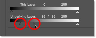 Dragging the black Blend If slider into two halves in Photoshop