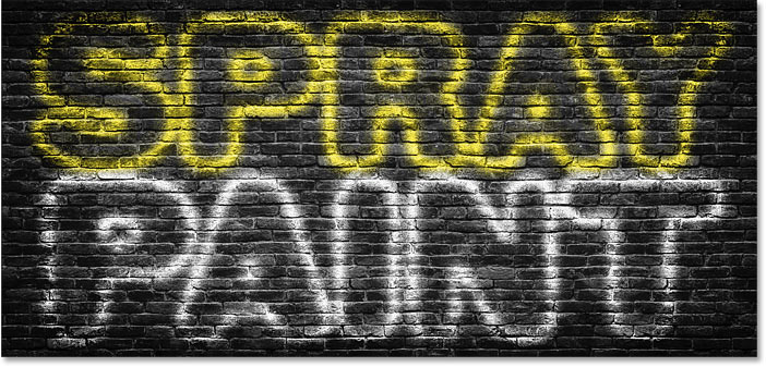 Photoshop spray-painted text effect with the top text colored yellow