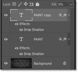 Photoshop's Layers panel showing the Type layer copy above the original