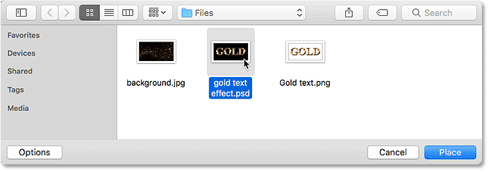 Choosing the text effect's Photoshop document to place onto the new background