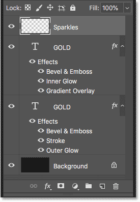The Layers panel showing the text effect layers and the Background layer in Photoshop.
