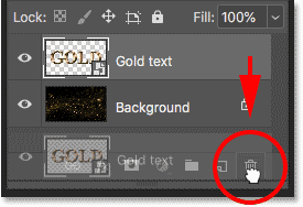 Deleting the text effect from the background document