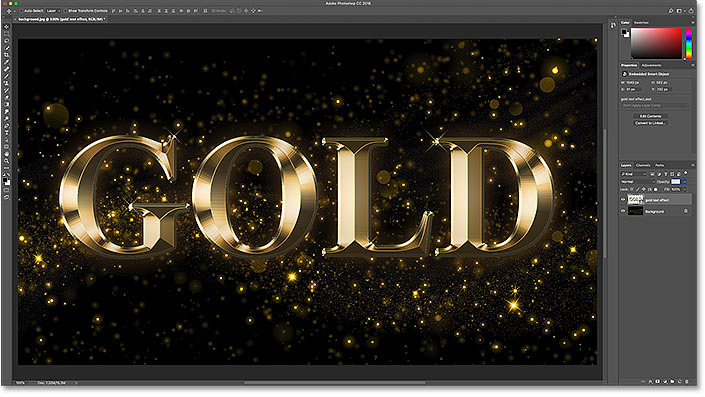 How to move a text effect into a new background in Photoshop