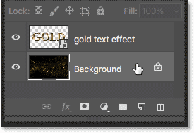 Selecting the Background layer in the Layers panel
