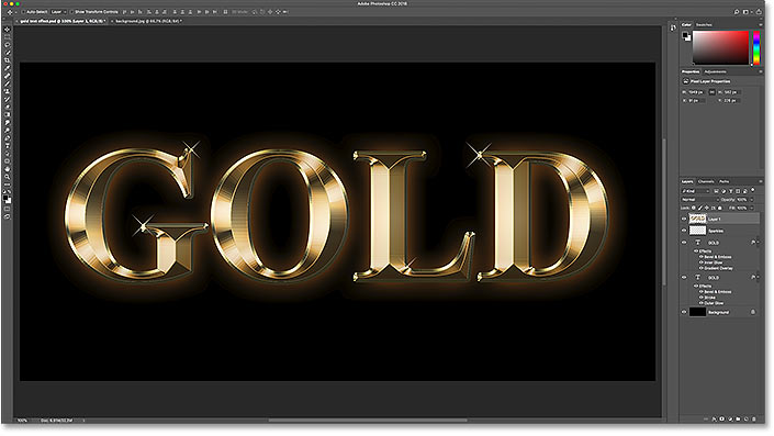 Restoring the original background behind the text effect in Photoshop