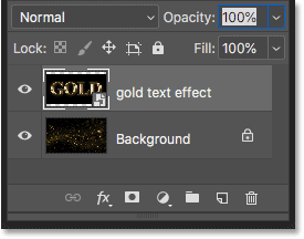 The text effect document has been placed as a smart object above the background