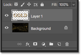 The text effect layer is added above the Background layer in Photoshop