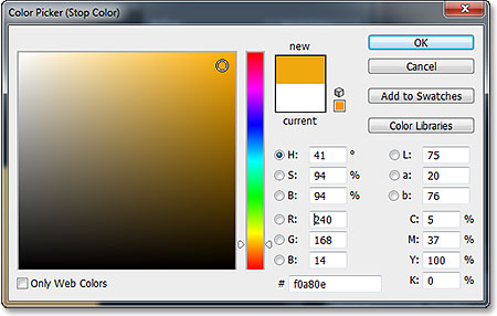 Selecting a second new gradient color from the Color Picker. Image © 2013 Photoshop Essentials.com