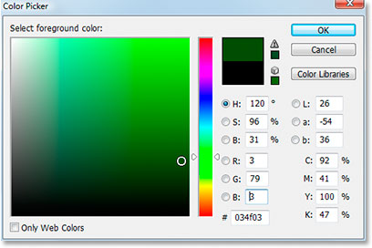 Adobe Photoshop Text Effects: Choosing a dark green in Photoshop's Color Picker.