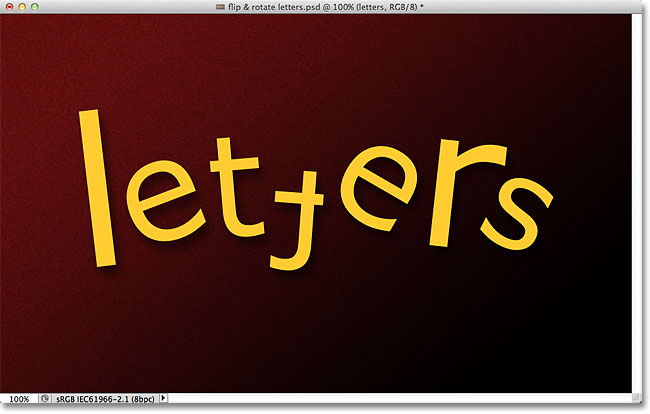 Rotate, flip and scale letters in a word with Photoshop. Image © 2011 Photoshop Essentials.com.