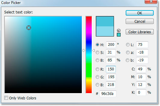 Adobe Photoshop Text Effects: Photoshop's Color Picker