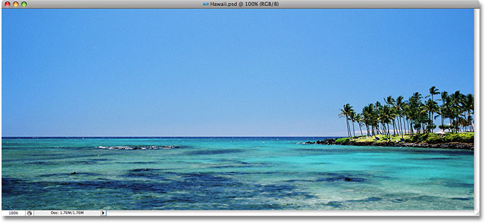 A panoramic view of the ocean in Hawaii. Image licensed from iStockphoto by Photoshop Essentials.com.