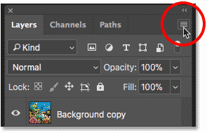 Clicking the menu icon in the Layers panel