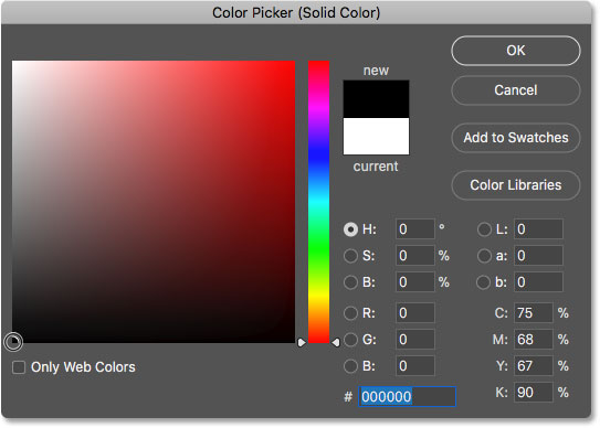 Choosing black in the Color Picker as the new background color for the image in text effect