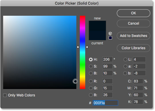 Choosing a darker shade of the sampled blue color in the Color Picker