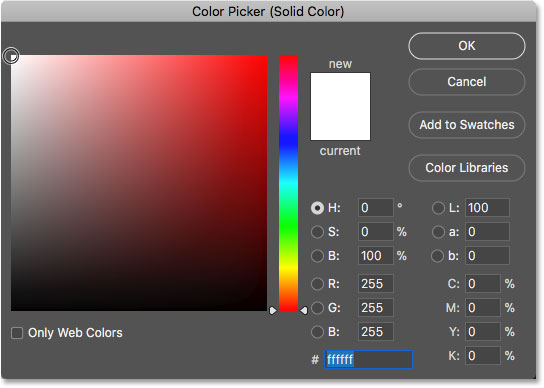 Choosing white in the Color Picker in Photoshop
