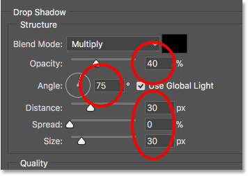Setting the Drop Shadow options in the Layer Style dialog box