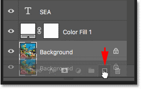 Dragging the Background layer onto the New Layer icon in the Layers panel