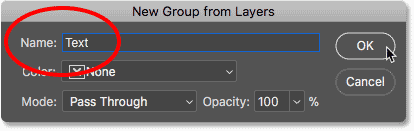 Naming the new layer group 'Text' in Photoshop