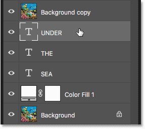 Selecting the first Type layer in the Layers panel