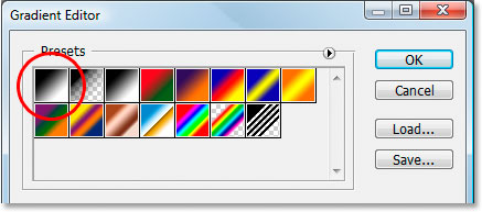 Photoshop Text Effects: Select the black to white gradient in the top left