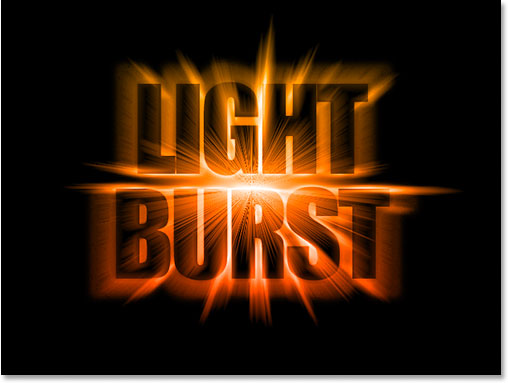 Photoshop colorful light burst text effect. Image © 2011 Photoshop Essentials.com