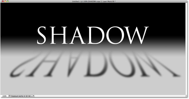 The shadow now fades into view thanks to the gradient on the layer mask. Image © 2010 Photoshop Essentials.com.