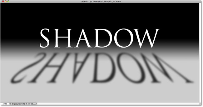 The image after blurring the shadow with Gaussian Blur. Image © 2010 Photoshop Essentials.com.
