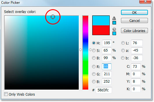 Adobe Photoshop Text Effects: Photoshop's Color Picker.
