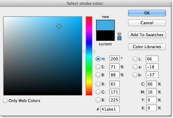 Choosing light blue from the Color Picker in Photoshop. Image © 2012 Photoshop Essentials.com.