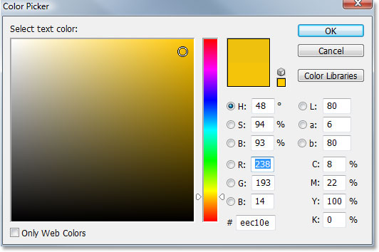 Adobe Photoshop Text Effects: Choosing a color for my text in Photoshop's Color Picker.