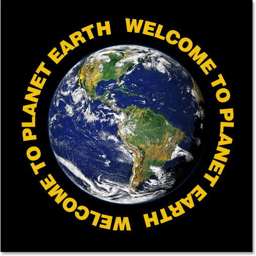 Adobe Photoshop Text Effects: The text now circles around the outside of the planet.